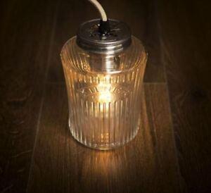 Vintage Kilner preserve Jam Jar plug pendant light lamp + free UK P&P