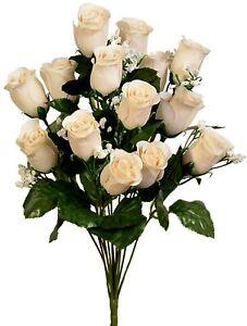 14 Artificial Rose Buds Bush Silk Wedding Flowers Bouquet Party Decorations Fake