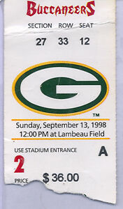 Green Bay Packers Tampa Bay Buccaneers 9/13/98 Ticket Stub...Brett Favre 2 TD's