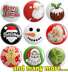 Christmas - Various Designs - BUTTON PIN BADGES 25mm 1 INCH | Santa Father Xmas