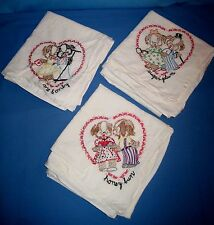 VTG Lot 3 Large Hand Embroidery Handmade Sewn Heart & Puppy Dogs Dish/Tea Towels