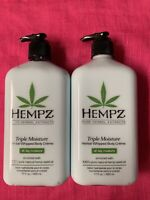 Supre HEMPZ TRIPLE MOISTURE Herbal Body Moisturizer Lotion 17oz LOT OF 2 BTLS!