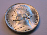 1943-P Jefferson 5C Gem BU Lustrous Silver War Nickel USA Five Cent WWII Coin