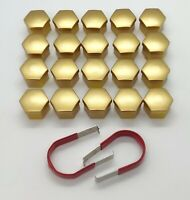 WHEEL NUT COVERS FOR VAUXHALL CORSA ASTRA VECTRA GOLD BOLT CAPS 17mm x 20