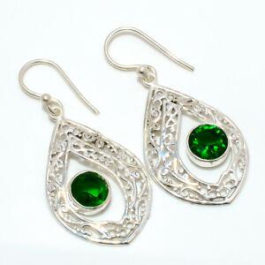 "Emerald Quartz Gemstone 925 Sterling Silver Bali Earring Jewelry 1.68"" W2445"