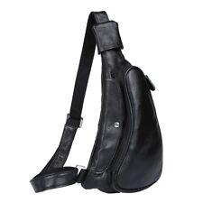 Men's Top Grain Leather Sling Bag Chest Pack Messenger One Shoulder Bag Backpack