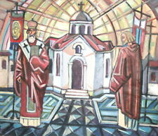Bulgarian Abstract Art, Vintage Cubist Religious Oil Painting