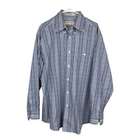 Orvis Men's L 100% Cotton Long Sleeve Wrinkle Free Button Shirt Blue Green Plaid
