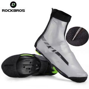 ROCKBROS Cycling Fleece Shoes Cover Waterproof Zipper Reflective Overshoes Gray