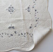 French Country Marcella Throw Quilt Shabby Chic + Free Cushion Cover Cream Blue