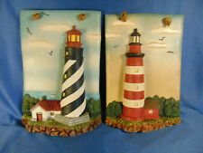 2 Lighthouse wall hangings coastal decor cottage style Assateque seaside