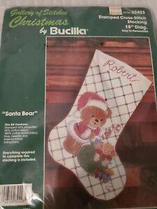 Bucilla Gallery of Stitches Santa Bear Christmas Stocking KIT Cross Stitch