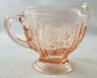 """VINTAGE Pink Depression/Carnival Glass Creamer Embossed Floral Design 3.25"""""""