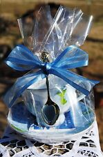 Set of 4 Blue Butterfly Tea Cup Favors w Tea Bag and Demi Spoon FREE SHIP