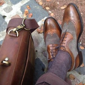 Handmade Men Brown Leather and Gray Suede Brogue Dress Shoes, Formal Shoes