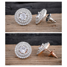 Women White Cubic Zirconia Stud Earrings Round Stud Earring Jewelry Gift for Her