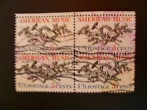 USA 1964 Scott #1252 American Music Issue Block of 4 Used - See Description
