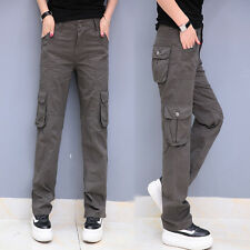 New Women Sports Straight Leg Cargo Pants Trousers Loose Multi Pocket Breathable