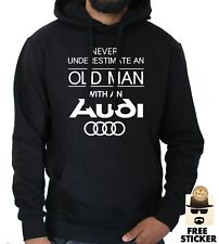 Mens Audi Hoodie Funny Old Man Quattro tt Car Owner Dad Gift Pullover Jumper NEW