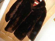 real fur vintage jacket coat beaver lamb sheepskin small medium 8 10 12  (H)