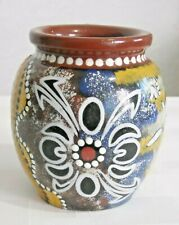 Beautiful Brown Hand-painted Wooden Australian Aboriginal Art Vase Signed 4-1/4""