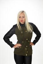 Damen Jacke Trench oliv khaki L 40 Trenchoat Kunstleder