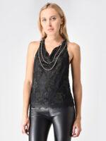 Alice + Olivia Black Embellished Sleeveless Racerback Top NWT NEW $595 Lace