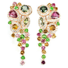 DAZZLING NATURAL MULTI COLOR TOURMALINE & WHITE CZ STERLING 925 SILVER EARRING