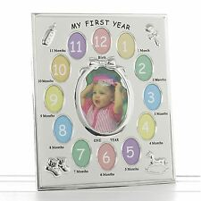 My First Year Satin Silver Baby Photo Frame 28cm High