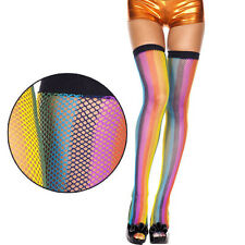 Cute Vertically Striped Rainbow Fishnet Thigh-Highs with Black Top Support Band