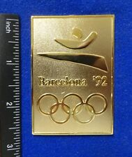 "Htf Jumbo 2.75"" Barcelona Spain 1992 Olympic Stylized Runner Golden Logo Pin"