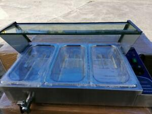 COMMERCIAL 3X 1/3' STAINLESS STEEL FOOD WARMER TRAYS+POLY LIDS GLASS FRONT/TOP