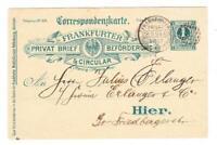Germany STADT POST-FRANKFURTER-1 Pfennig POSTAL CARD(blue on buff?)-PRIVAT