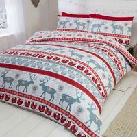 SCANDI CHRISTMAS BRUSHED COTTON FLANNELETTE KING SIZE DUVET COVER SET RED