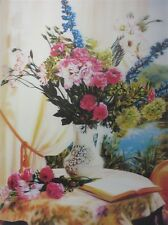 Poster Print 3d picture of a carnation Bouquet on table, great for Home B046