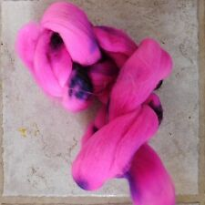 Intense Fuchsia Pink 2 Ounces Hand Dyed Wool Roving to Spin, Felt, Knit