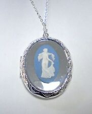 """Authentic Wedgwood """"Dancing Hours"""" Locket Necklace and Chain Set in Silver-Plate"""