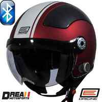 ORIGINE BLUETOOTH MATTE FLAT BLACK RED OPEN FACE MOTORCYCLE HELMET DOT XS - XL