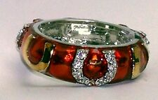 RING RED Shiny Enamel w/ Gold & Silver CZ Pave Horseshoe Accents Sz 9 STACKABLE!