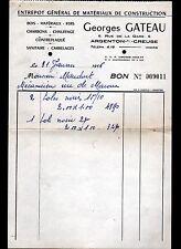 """ARGENTON-sur-CREUSE (36) MATERIAUX de CONSTRUCTION """"Georges GATEAU"""" en 1956"""