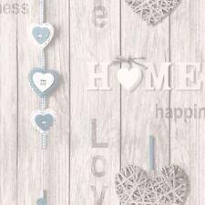 LOVE YOUR HOME WALLPAPER - BLUE - FINE DECOR FD41719 NEW
