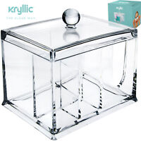 Cottonball Q tips Cosmetic Makeup Organizer Clear Acrylic 4 storage Compartments