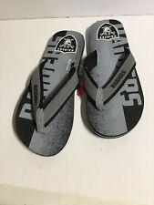 Raiders Slippers Mens Size L Black Grey Slippers Slip Ons. E21