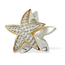 14K Gold/925 Sterling Silver  3D  'STARFISH'    European Charm Bead