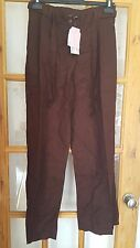 Super Ladies Dark Brown Casual Trousers, Tie to Waist, Size 12, NWT