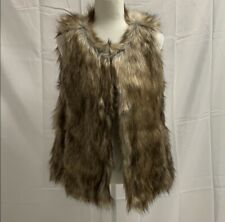 Ann Taylor Loft Full Fur Vest Brown Tan With Pockets Small NWT $120