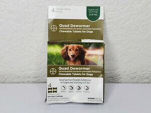 Bayer Chewable Quad Dewormer for Small Dogs 2-25 lbs 4 Chewable Tablets