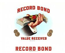 Record Bond Vintage Antique Cigar Box Label Consolidated Litho. Corp Carle Place