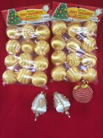 Vintage Satin Christmas Ornaments Lot Plastic Gold New Old Stock