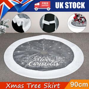 90cm Luxury Grey Fur Christmas Tree Skirt Festive Home Xmas Snowflake Decor